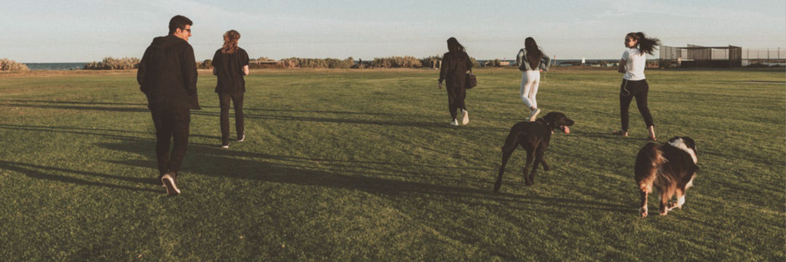 Several teenagers stride across a grassy field